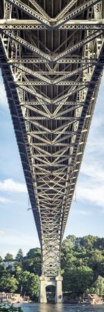 Tall Panoramic angle below Aurora Bridge in Pacific Northwest Stock Photo - 87338310
