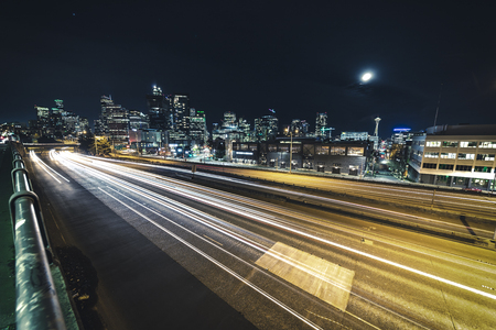 Wide angle long exposure photography in downtown metropolis at night