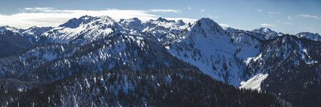 Stylized Washington mountains panorama in fresh winter snow