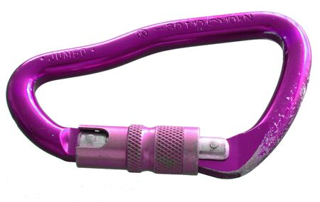 Large, purple, screw-gate carabiner. worn from use. Isolated on white Stock Photo - 3668301