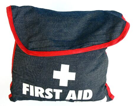 First Aid Kit denim bag with red piping. Isolated on white Stock Photo - 3795006