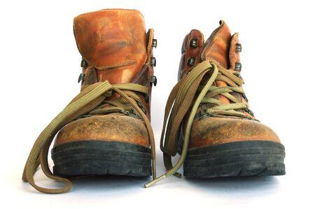 sturdy: Sturdy, well worn leather hiking boots.