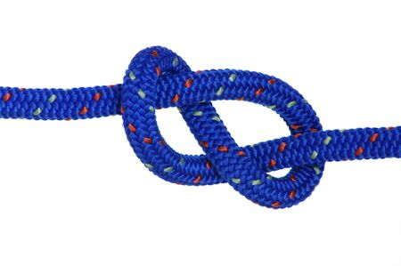 a blue clibing rope knotted in a figure eight. Stock Photo - 4043527