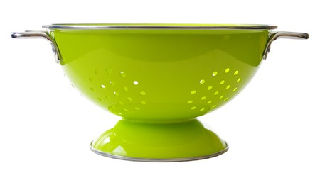 a colander: a bright green colander. Isolated on white