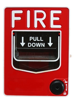 lever: A bright red fire alarm lever