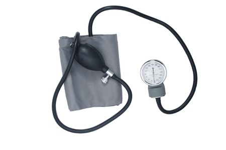sphygmonanometer: A simple manual blood pressure meter. Isolated on white. Stock Photo