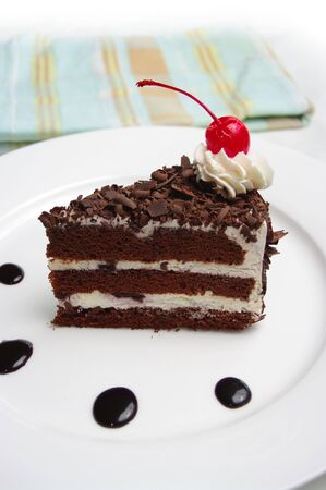 gateau: A delicious slice of Black Forest Cake (Schwarzwälder Kirschtorte). On a plate and ready to eat