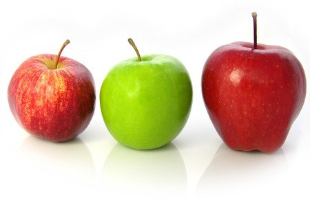 granny smith: Apples. L to R: Royal Gala, Granny Smith, and Red Delicious varieties. Whole fruit. Isolated on white Stock Photo