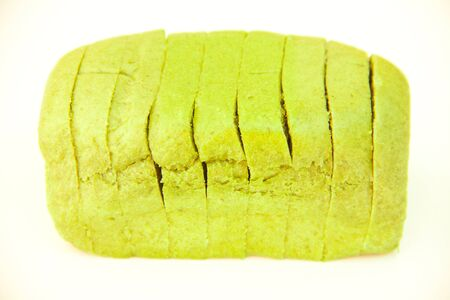 Spinach bread on white dish photo