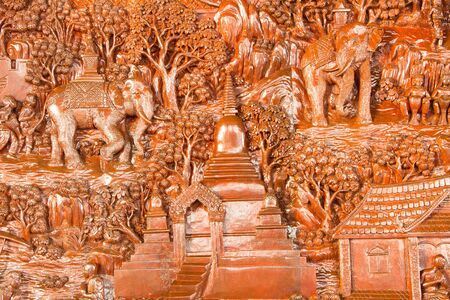 Wood carving wall at  Phra That Doi Suthep,Chiang Mai,Thailand photo