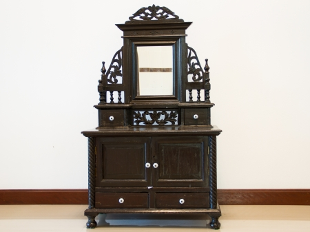 Black Antique Dressing Table with Mirror photo