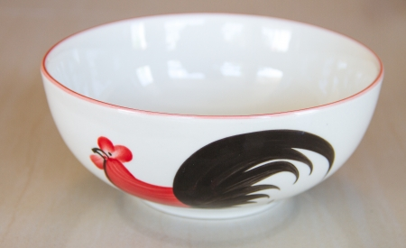 porcelain bowl painted chicken photo