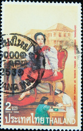 midwifery: A stamp printed in Thailand,Centennial anniversary of siriraj school of nursing and midwifery 1996 Editorial