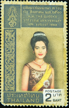 A stamp printed in Thailand shows H.M. The Queens 3rd cycle anniversary 12th August 1968, circa 1968