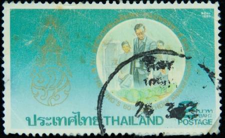 A stamp printed in Thailand shows portrait of Bhumibol Adulyadej Rama IX of Thailand,circa 1987
