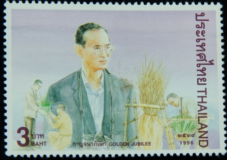 A stamp printed in Thailand shows portrait of Bhumibol Adulyadej Rama IX of Thailand ,Golden jubilee, circa 1996 Stock Photo - 17003395