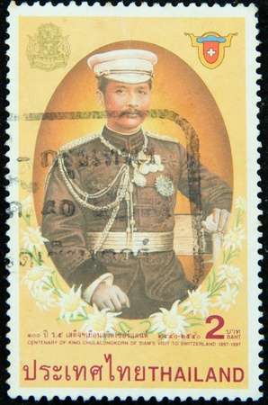 A stamp printed in Thailand shows centenary of king Chulalongkorn of siam visit to Switzerland 1897-1997