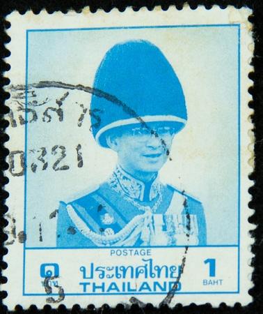 ix portrait: A stamp printed in Thailand shows portrait of Bhumibol Adulyadej Rama IX of Thailand