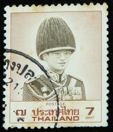 A stamp printed in Thailand shows portrait of Bhumibol Adulyadej Rama IX of Thailand