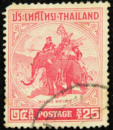 old stamp features Thai King Naresuan (1555-1605) riding on a war elephant, Thailand, circa 1955 photo