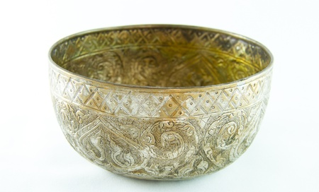 Old antique vintage bronze, brass bowl, isolated on white background Stock Photo - 17122722