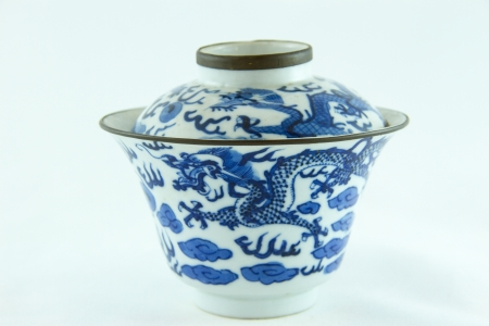 Chinese Antique bowl on white background,isolated