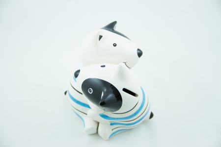 Dog piggy bank on a whitebackground photo