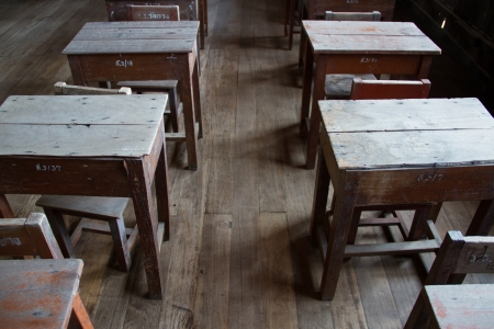 Old classroom ,wood chair and desk