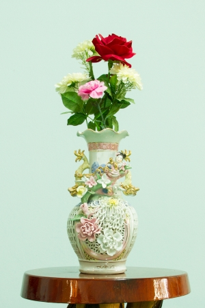 Flower vase on a wooden table Stock Photo