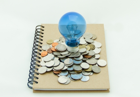 The idea and money growing from a notebook Stock Photo