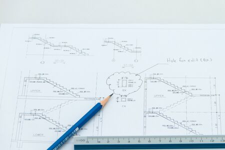 Plan of structure drawing stair Stock Photo - 18165068