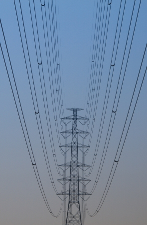 High voltage tower and high voltage lines
