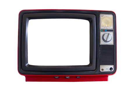 Old  red television on white background photo