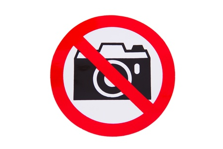 no cameras allowed: No photography allowed on white background