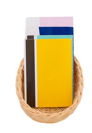 Saving Account Passbook  in the basket on white background photo