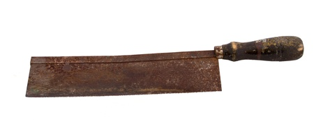 Rusty knife on white background photo