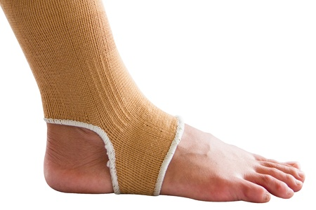 Ankle brace on white background photo