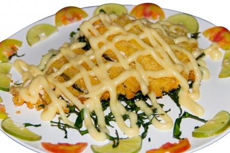 Creamy chicken salad and  lemon slide photo