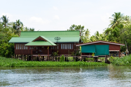 Waterfront home,ThaChin River,Thailand Editorial