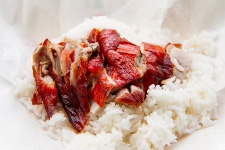 Duck with Rice on white paper Stock Photo