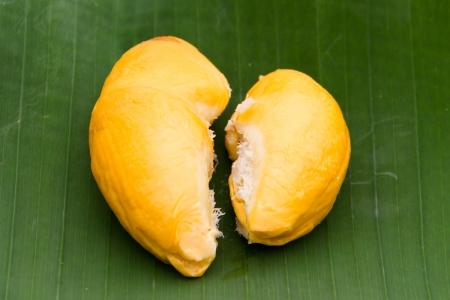 Durian on the banana leaf photo