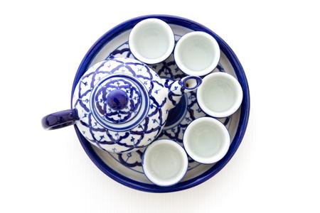 Ceramic tea set on white background Stock Photo