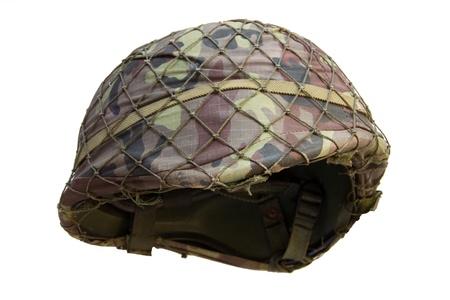 Soldier helmet on white background