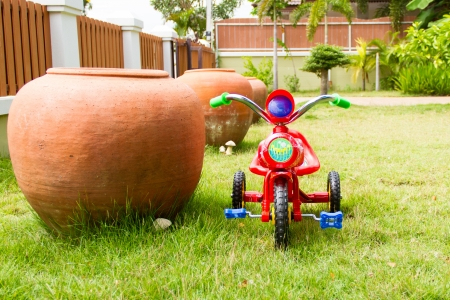 Tricycle for kids in the backyard photo