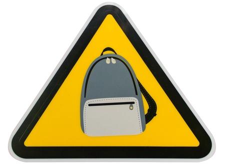 be careful: Symbol be careful bag on red background,JJ park at bangkok Stock Photo