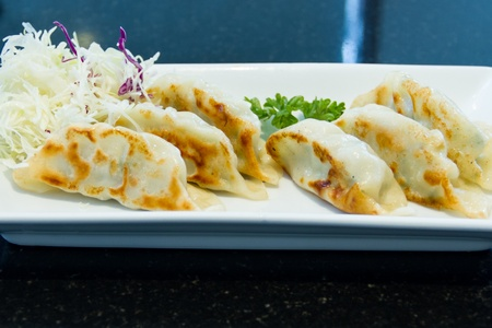 Fried Dumpling or gyoza on white plate photo