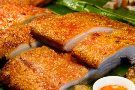 close up crispy pork for background photo