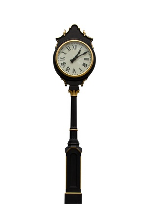 Clock pole on white background Banque d'images