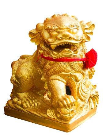 Golden lion statue on white background photo