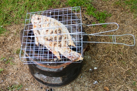 Grilled fish with salt on charcoal brazier photo